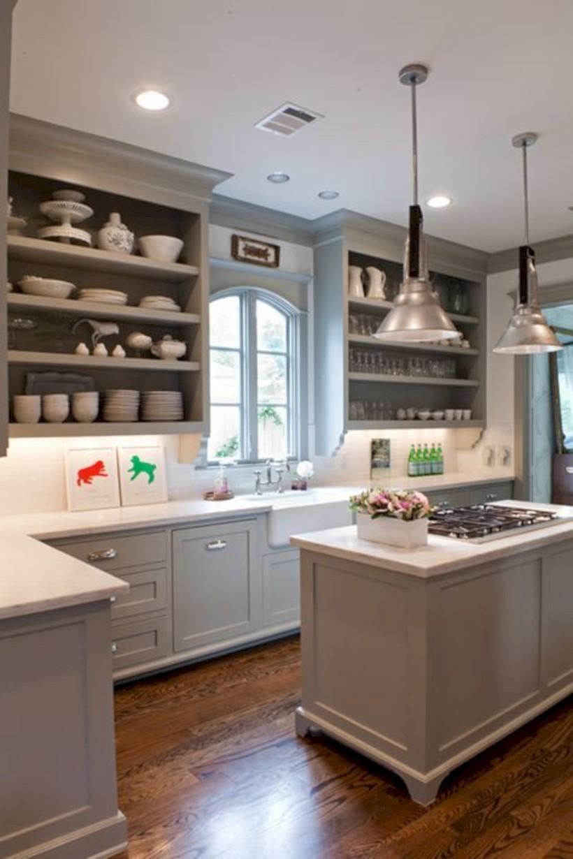 Adorable grey and white kitchens design ideas 27