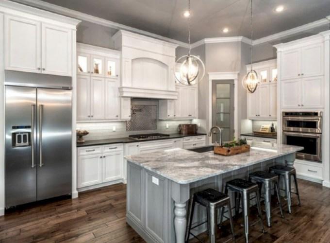 Adorable grey and white kitchens design ideas 29