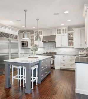 Adorable grey and white kitchens design ideas 32