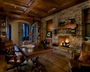 Awesome rustic home office designs ideas 45