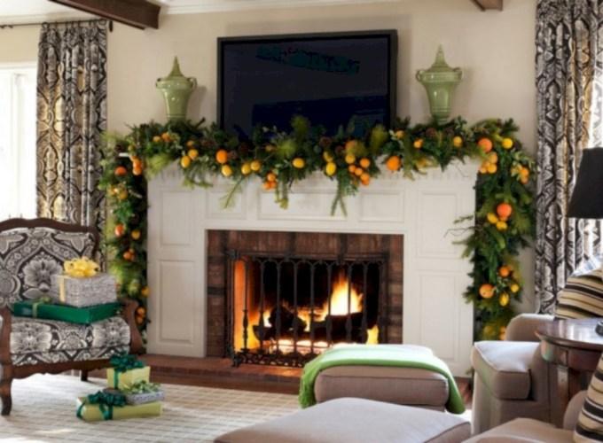 Cool christmas fireplace mantel decoration ideas 17