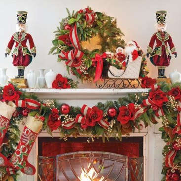 Cool christmas fireplace mantel decoration ideas 31