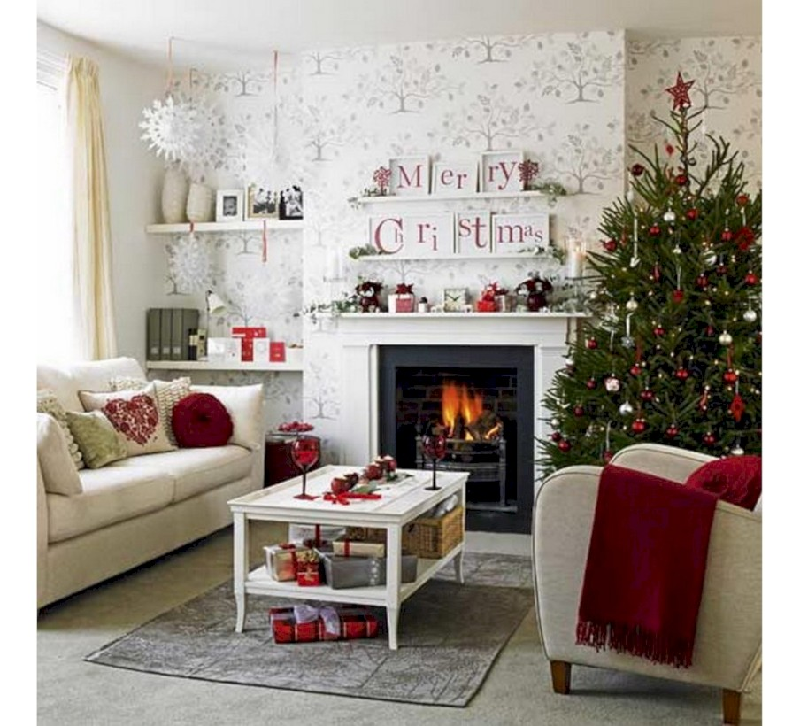 Gorgeous red and white living rooms ideas 13