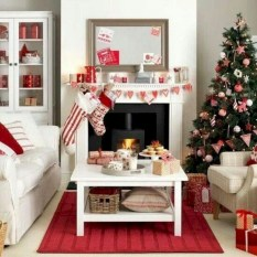 Gorgeous red and white living rooms ideas 33