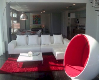 Gorgeous red and white living rooms ideas 37