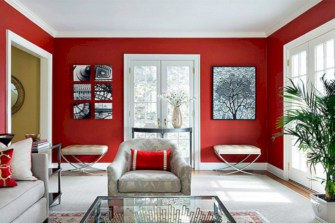 Gorgeous red and white living rooms ideas 42