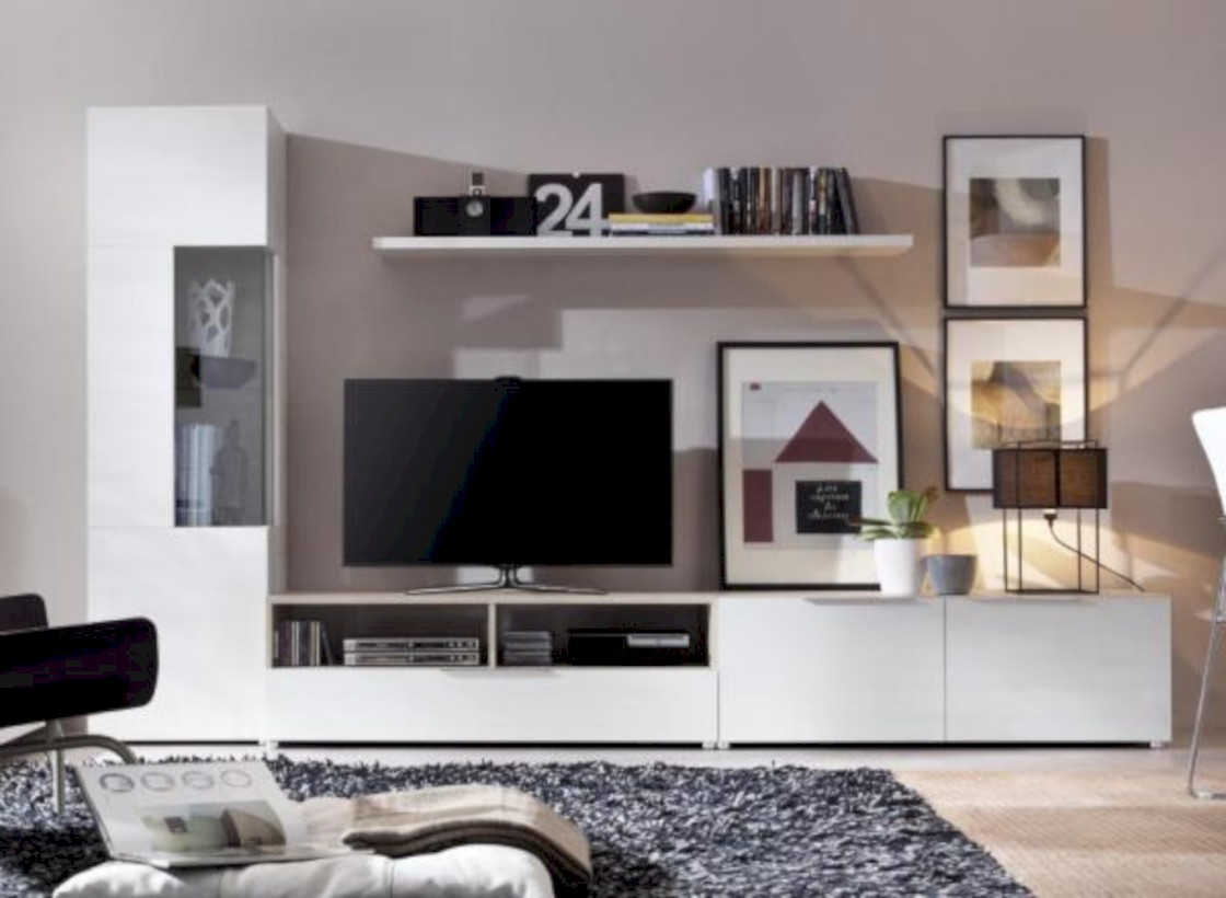 Modern living room wall units ideas with storage inspiration 40