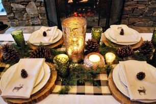 Simple rustic christmas table settings ideas 31