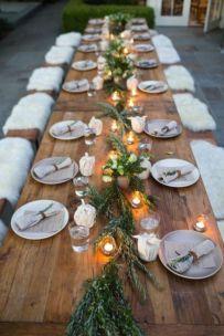Simple rustic christmas table settings ideas 33