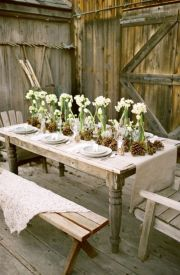 Simple rustic christmas table settings ideas 45