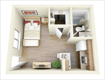 Stylish studio apartment floor plans ideas 13