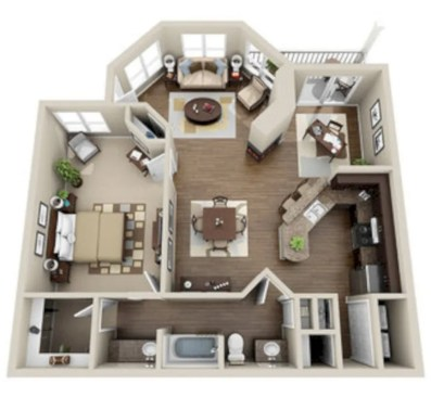 40 stylish studio apartment floor plans ideas round decor for Studio floor plan ideas