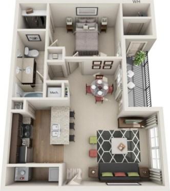 Stylish studio apartment floor plans ideas 26