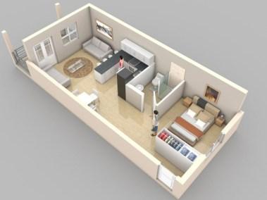 Stylish studio apartment floor plans ideas 27