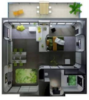 Stylish studio apartment floor plans ideas 28
