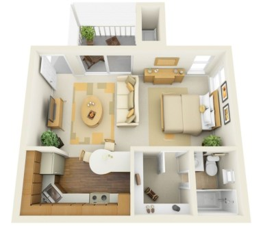 Stylish studio apartment floor plans ideas 29