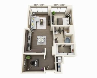 Stylish studio apartment floor plans ideas 36