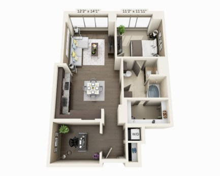 Stylish studio apartment floor plans ideas 36