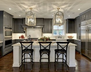 Beautiful gray kitchen cabinet design ideas 05