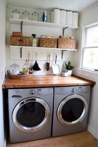 Brilliant small laundry room storage organization ideas on a budget 13