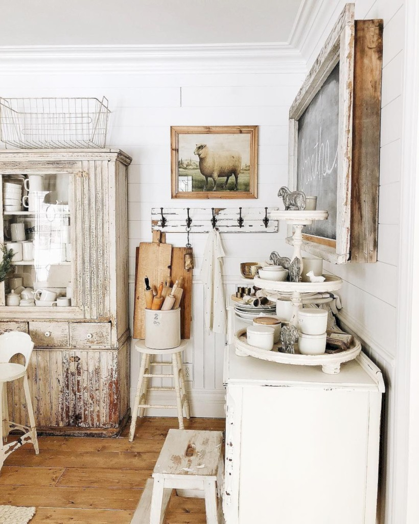 Classic shabby chic vintage kitchens design decor (11)