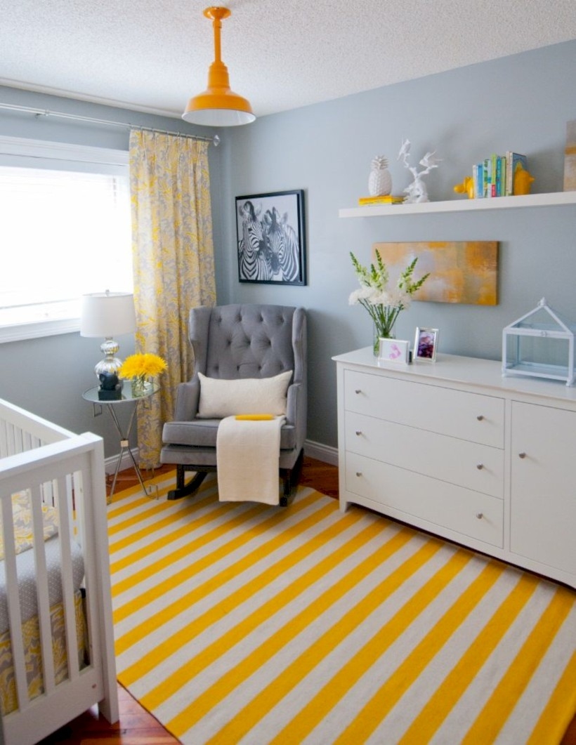 Comfy grey yellow bedrooms decorating ideas (27)