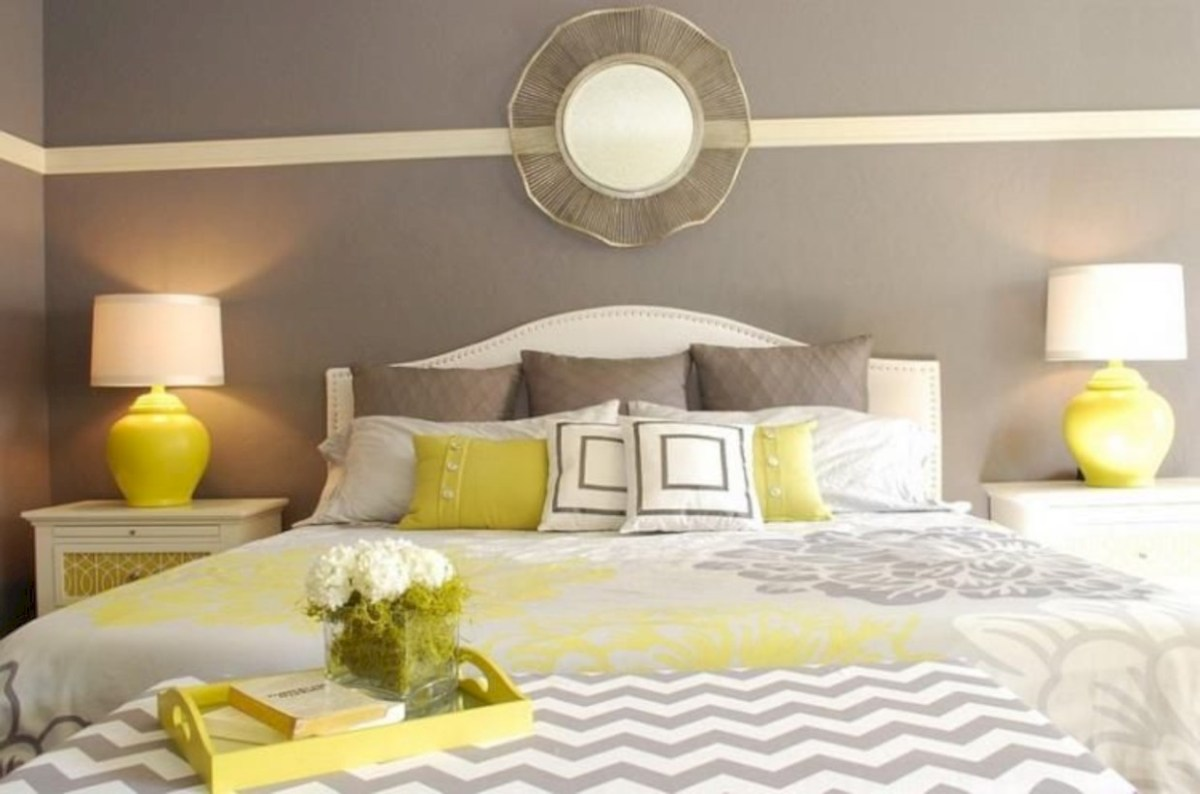 Comfy grey yellow bedrooms decorating ideas (45)