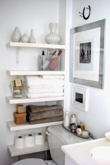 Cool bathroom storage shelves organization ideas 26