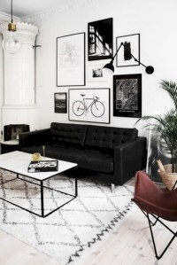Cozy apartment living room black and white style inspirations ideas 05