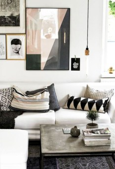 Cozy apartment living room black and white style inspirations ideas 06