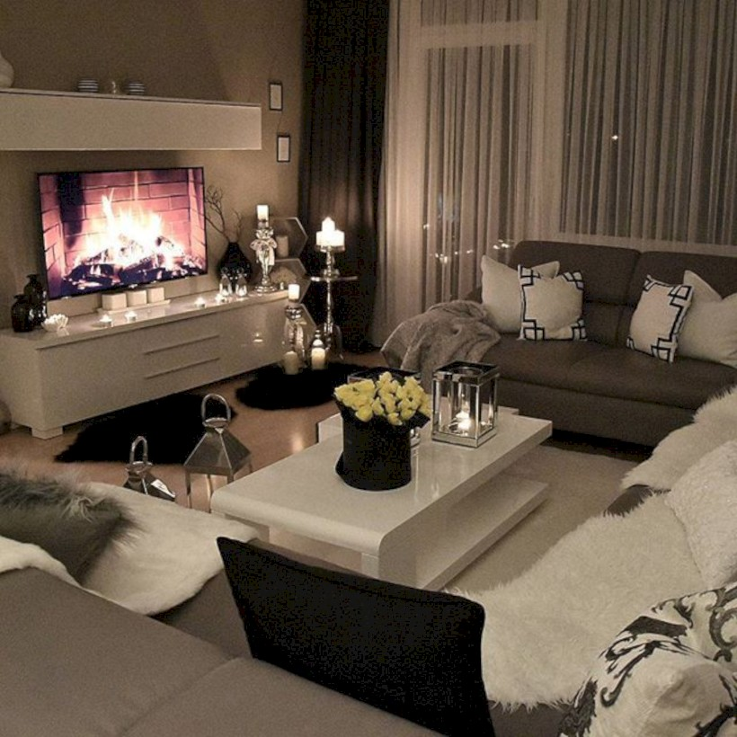 Cozy Apartment Living Room: Cozy Apartment Living Room Black And White Style