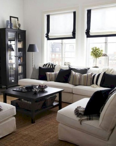 Cozy apartment living room black and white style inspirations ideas 16