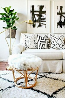 Cozy apartment living room black and white style inspirations ideas 24