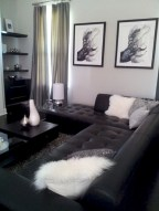 Cozy apartment living room black and white style inspirations ideas 33