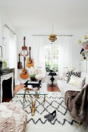 Cozy apartment living room black and white style inspirations ideas 38