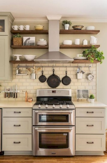 Creative kitchen open shelves ideas on a budget 13