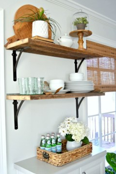 Creative kitchen open shelves ideas on a budget 19