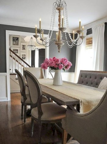48 Fancy French Country Dining Room Table Decor Ideas - Round Decor