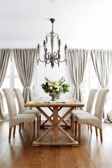 Fancy french country dining room table decor ideas 46