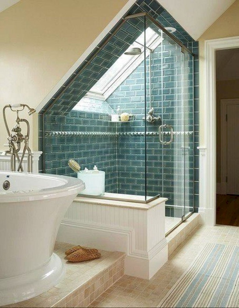 Cool attic bathroom remodel ideas 44