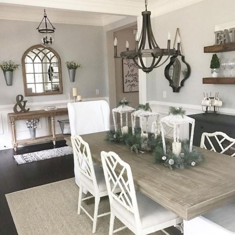 Rustic farmhouse dining room table decor ideas 14