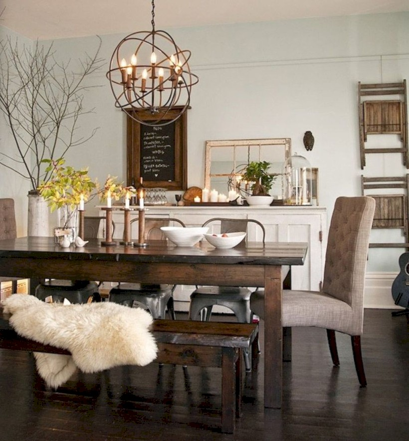 Rustic farmhouse dining room table decor ideas 39