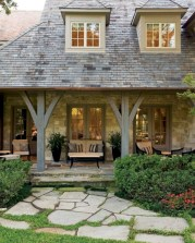 Rustic farmhouse porch steps decor ideas 35