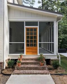 Rustic farmhouse porch steps decor ideas 37
