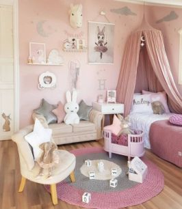Cute pink kids bedroom designs ideas for small room (47)