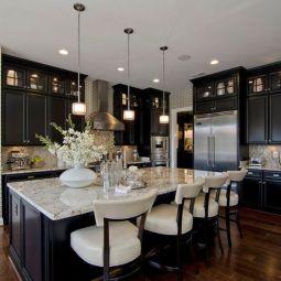 Stylish luxury black kitchen design ideas (30)