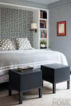 Totally inspiring black and white geometric wallpaper ideas for bedroom (11)