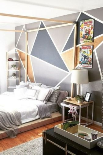 Totally inspiring black and white geometric wallpaper ideas for bedroom (15)