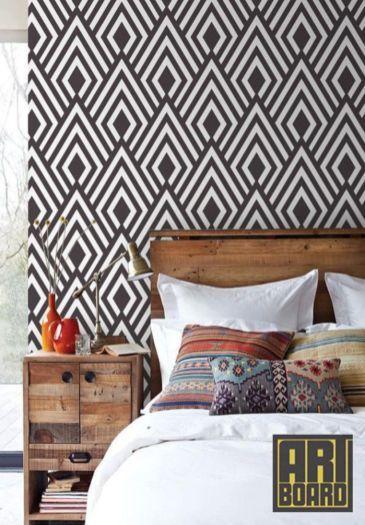 Totally inspiring black and white geometric wallpaper ideas for bedroom (40)