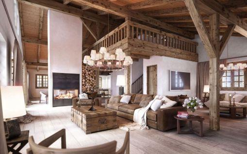 Amazing rustic mountain farmhouse decorating ideas (1)